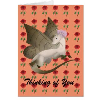 Roses de carte de voeux de dragon de papillon