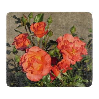 Roses de cathédrale d'abricot planche à découper