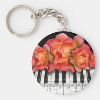 Roses de clavier de piano et notes de musique porte-clé rond