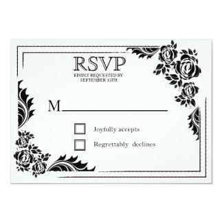 Roses de damassé noirs et blancs épousant des carton d'invitation  12,7 cm x 17,78 cm