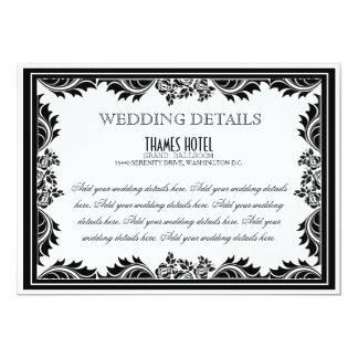 Roses de damassé noirs et blancs épousant la carte carton d'invitation  12,7 cm x 17,78 cm