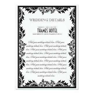 Roses de damassé noirs et blancs épousant la carte carton d'invitation  13,97 cm x 19,05 cm