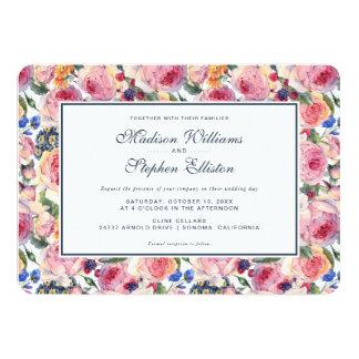 Roses de l'anglais de l'aquarelle   - mariage carton d'invitation  12,7 cm x 17,78 cm