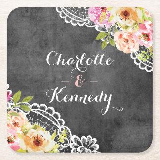 Roses de mariage de ferme et tableau rustiques de dessous-de-verre carré en papier
