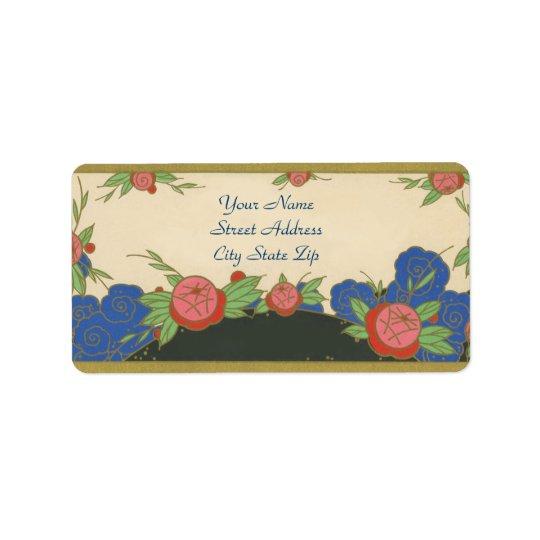 Roses de Paris d'art déco Étiquette D'adresse