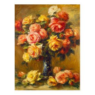 Roses de Renoir dans une carte postale de vase