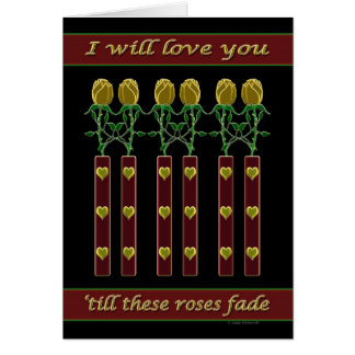 Roses d'or carte de vœux