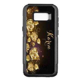 Roses élégants d'or sur noir et le pourpre coque samsung galaxy s8+ par OtterBox commuter