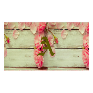 roses en bois blancs vintages de rose de mur, chic carte de visite standard