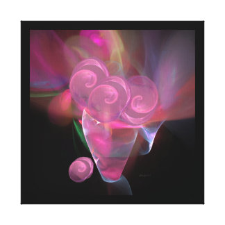 Roses en verre roses dans une toile en cristal de