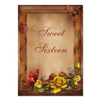 Roses et bonbon élégants 16 à papillon carton d'invitation  12,7 cm x 17,78 cm