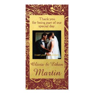 Roses et carte photo d'or de mariage de Bourgogne