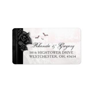 Roses et chauves-souris gothiques noirs épousant étiquette d'adresse