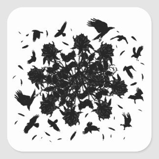 Roses et corbeaux noirs sticker carré