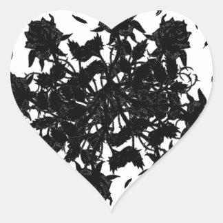 Roses et corbeaux noirs sticker cœur