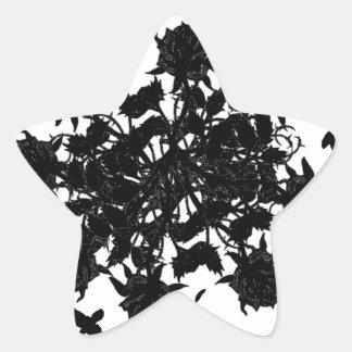 Roses et corbeaux noirs sticker étoile