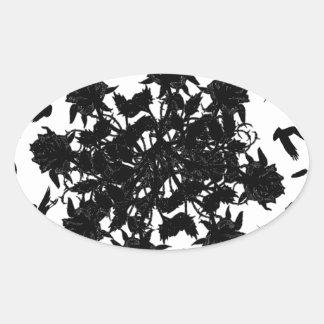 Roses et corbeaux noirs sticker ovale