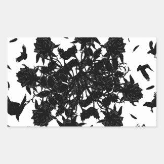 Roses et corbeaux noirs sticker rectangulaire
