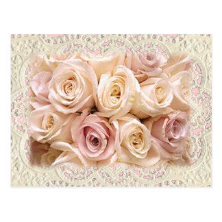 ROSES et DENTELLE par SHARON SHARPE par SHARON Carte Postale