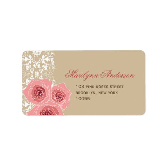 Roses et étiquettes de adresse roses romantiques