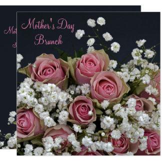 Roses et jour de mère de bouquet de Gypsophila Carton D'invitation 13,33 Cm