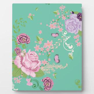 Roses et ornement 3 de papillons plaque d'affichage