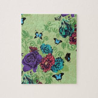 Roses et ornement de papillons puzzle