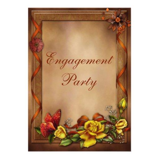 Roses et partie de fiançailles élégants de invitation personnalisée