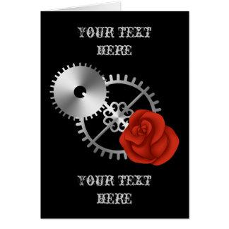 Roses et vitesses de victorian de steampunk de carte de vœux