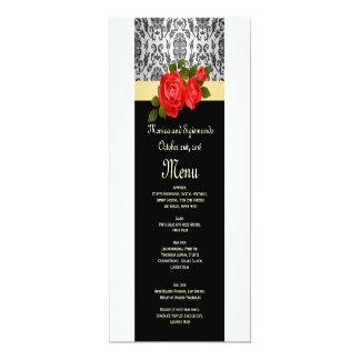 Roses gris de damassé et rouges noirs épousant le carton d'invitation  10,16 cm x 23,49 cm