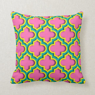 Roses indien #2, jaune, Marocain turquoise Coussin