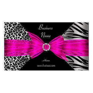 Roses indien élégantes de noir de léopard de zèbre cartes de visite personnelles