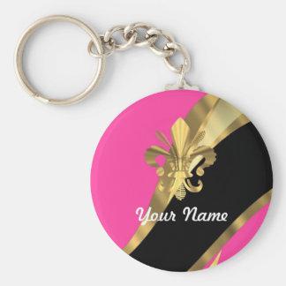 Roses indien et gold fleur de lys porte-clés