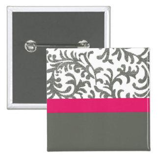 Roses indien et motif floral gris badge avec épingle