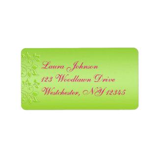 Roses indien, étiquette de adresse floral de vert