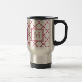 Roses indien Quatrefoil blanc | votre monogramme Mug De Voyage