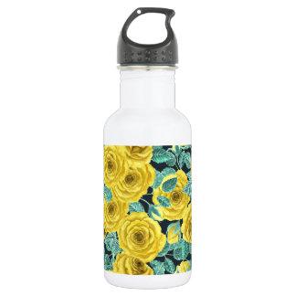 Roses jaunes d'aquarelle avec le patte de feuille bouteille d'eau