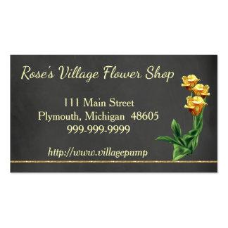 Roses jaunes de carte de visite de fleuriste de