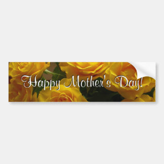 Roses jaunes heureux du jour de mère autocollant pour voiture