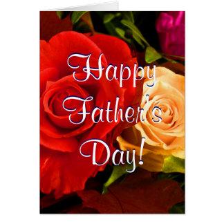 Roses jaunes rouges de fête des pères heureuse II Cartes De Vœux