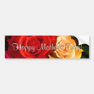 Roses jaunes rouges heureux du jour de mère autocollant pour voiture