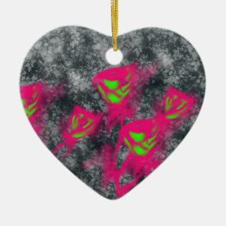 roses mignons ornement cœur en céramique