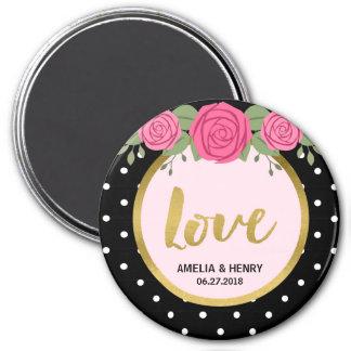 Roses noirs et blancs de point de polka épousant magnet rond 7,50 cm