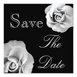Roses NOIRS et BLANCS épousant des économies que Carton D'invitation 13,33 Cm