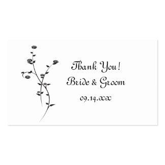 Roses noirs et blancs épousant des étiquettes de f cartes de visite personnelles