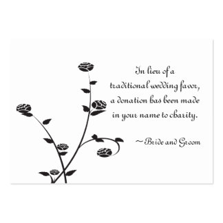Roses noirs et blancs épousant la carte de faveur carte de visite grand format
