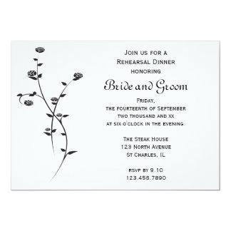 Roses noirs et blancs épousant le dîner de carton d'invitation  12,7 cm x 17,78 cm