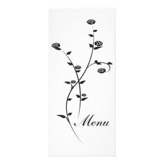 Roses noirs et blancs épousant le menu modèle de double carte