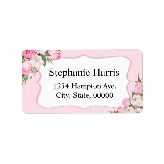 Roses nommés floraux de rose d'autocollant étiquette d'adresse