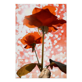 Roses oranges romantiques avec des lumières de poster
